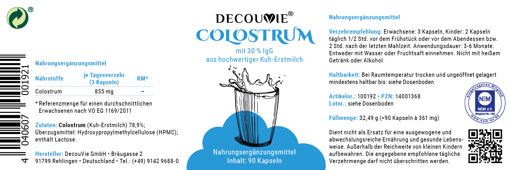 Colostrum zur Unterstützung des Immunsystems, 90 Kapseln