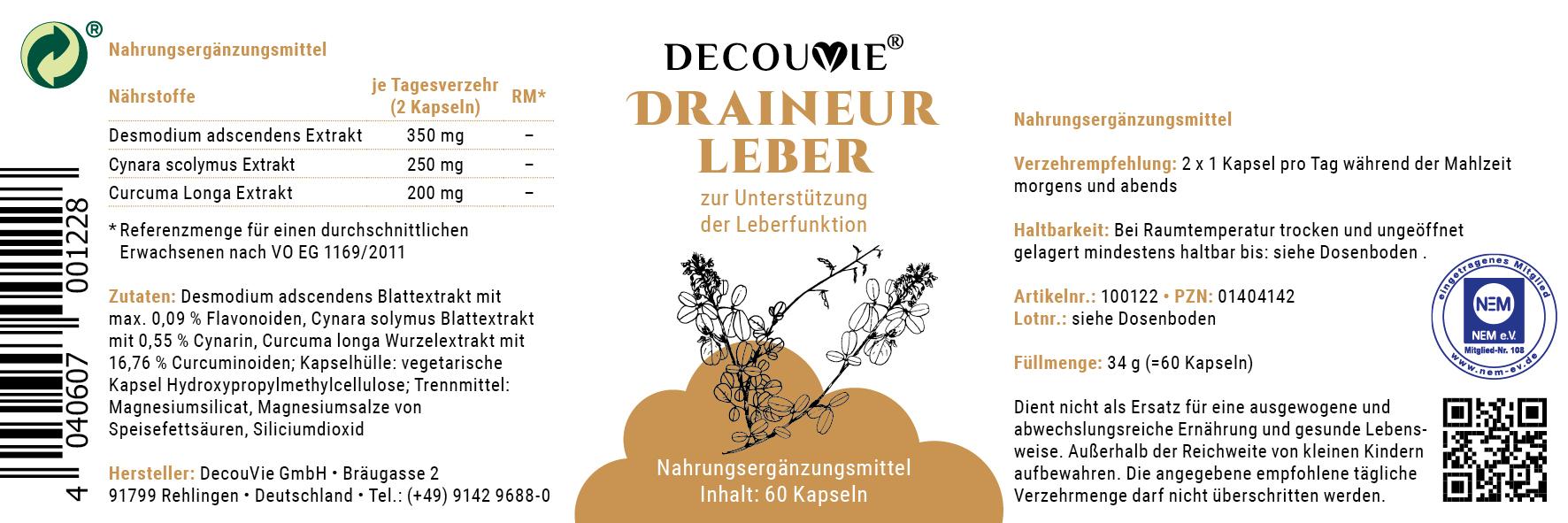Draineur Leber, zur Unterstützung des Leberstoffwechsels, 60 Kapseln