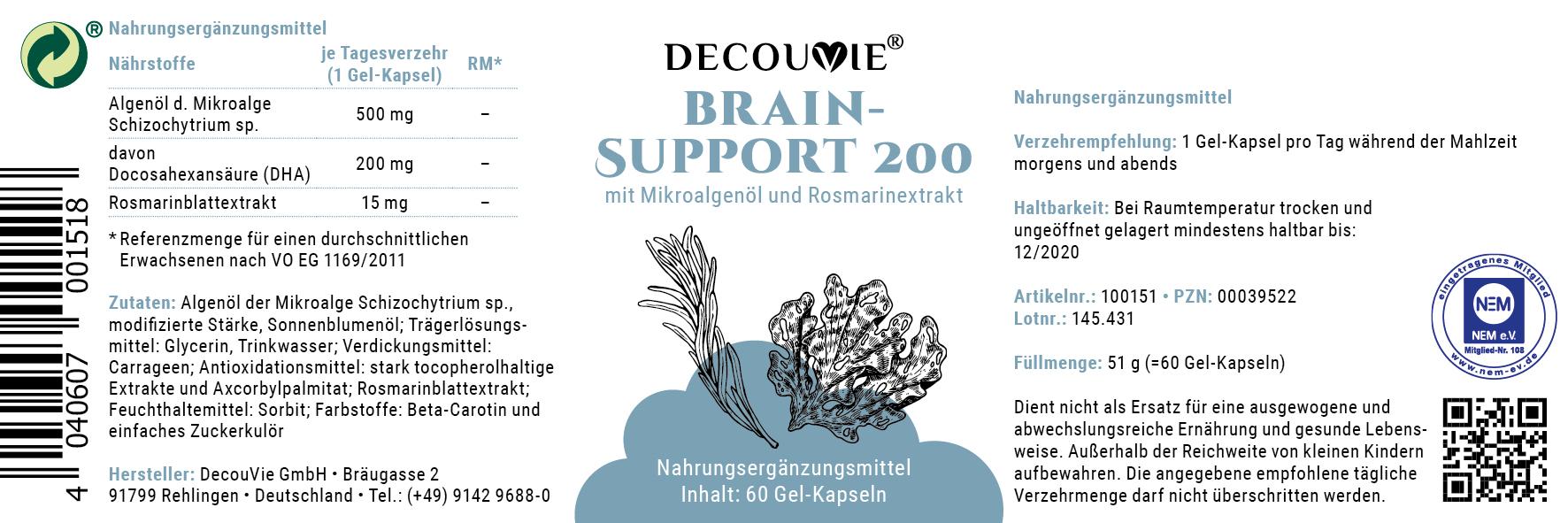 Brain Support 200, zur Verbesserung der Konzentration und Hirnleistung, 60 Kapseln