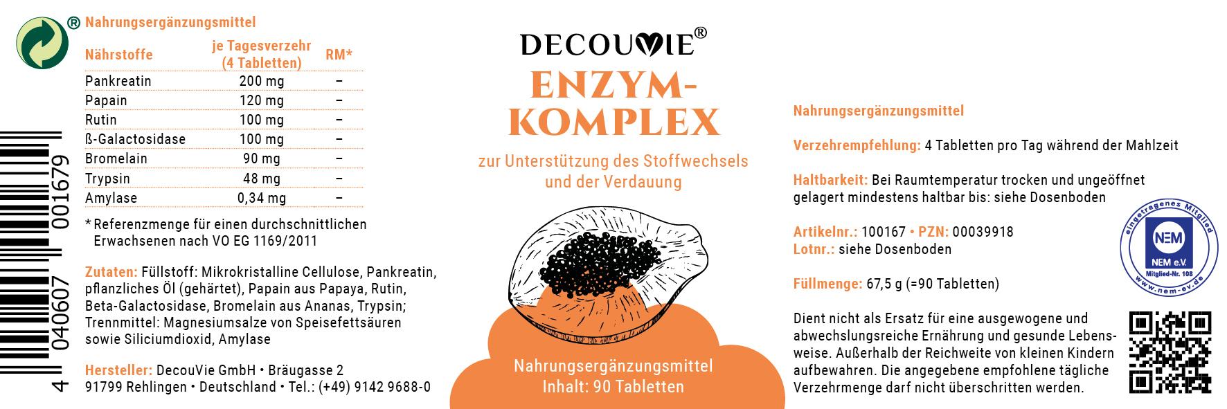 Enzym-Komplex, zur Unterstützung des Stoffwechsels, Immunsystem und Verdauung, 90 Tabletten