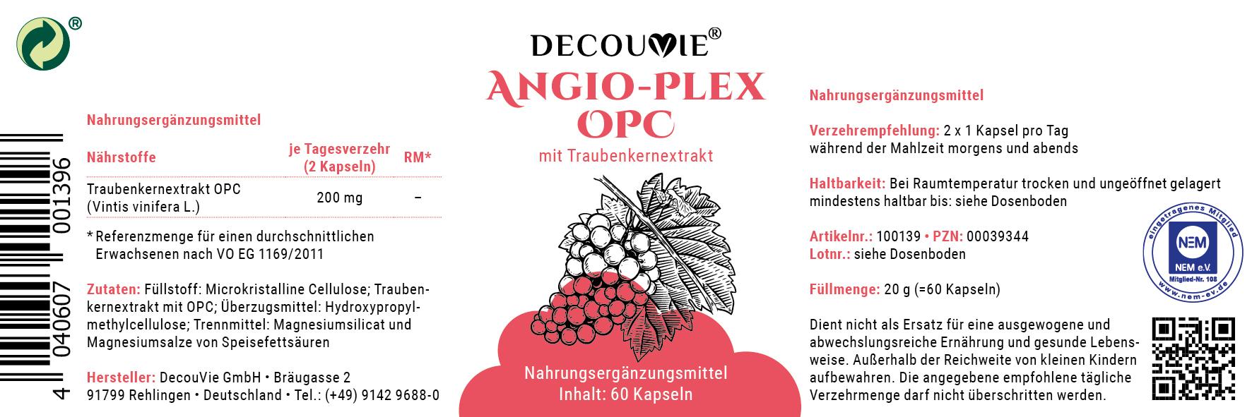 Angio Plex OPC, mit Traubenkernextrakt für Herz, Kreislauf und Gefäße, 60 Kapseln