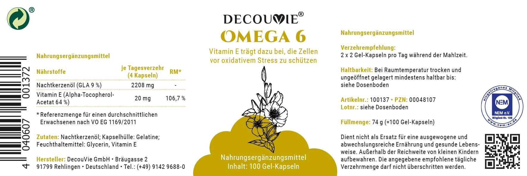 Omega 6, zur Ergänzung von Omega 6 auf Basis von Nachtkerzenöl mit Vitamin E, 100 Gel-Kapseln