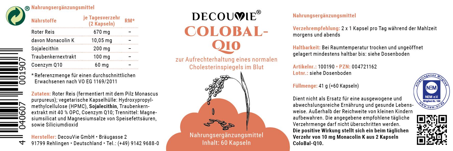 ColoBal-Q10, zur Optimierung des Cholesterinspiegels, 60 Kapseln
