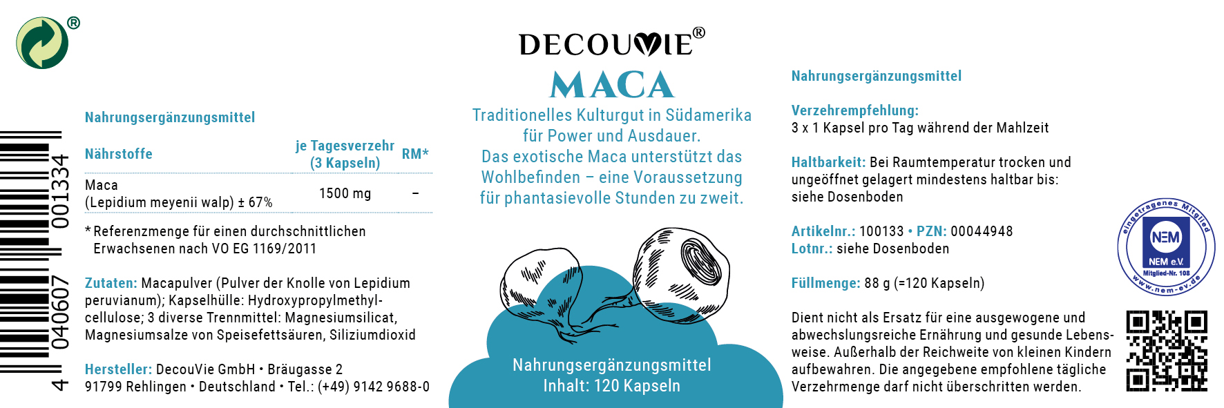 Maca (Peruanischer Ginseng) Traditionelles Kulturgut in Südamerika für Power und Ausdauer
